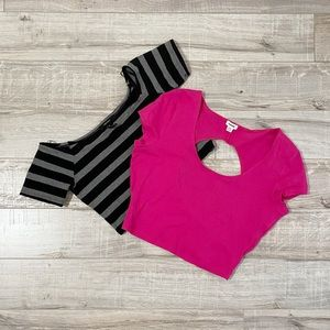 Cute Crop Top Bundle Stripped & Hot Pink Medium